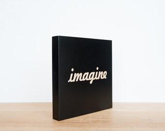 Imagine Wall Tile, Wall Art Word, Imagine Wall Decor, SALE, Word Tile, Engraved Imagine Tile, Imagine Wall Plaque