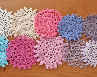 10 Small Colorful Craft Doilies, Hand Dyed Vintage Doilies, 2.5 to 3.5 inch Doilies for Dream Catchers and Crafts, Crochet Mandala Medallion