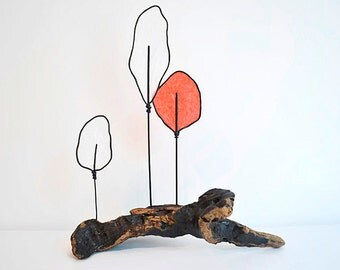 Driftwood Wire Tree Sculpture - Nature Art - Modern Abstract - Minimalist - White Red