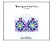 Bead pattern Tutorial DIY earrings Baroque Simplicity made with Swarovski, Superduo, seed beads, Magatamas and Miyuki drops