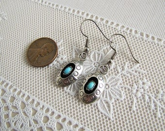 Turquoise Sterling Silver Shadow box Earrings, Native American Jewelry