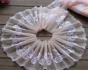 2 Yards Lace Trim Floral Embroidered Peachy Pink Tulle Lace 7 Inches Wide High Quality