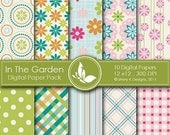 50% off In The Garden Paper Pack - 10 Digital papers - 12 x12 - 300 DPI