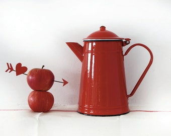Red kitchen,large French vintage enamel teapot, red passion enamelware coffee pot, piece n4, red enamel collection