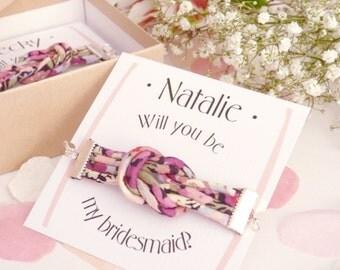 Will You Be My Bridesmaid Bracelets - Liberty Print Jewelry - Wedding Favors - Personalized Bracelet - Handmade Jewelry - Knot Bracelet Set