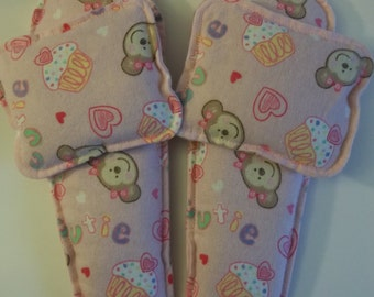 Flannel Foot Warmers Flax Seed Sock/Slippers inserts and Toasty Hand Warmers Set Cutie Monkey
