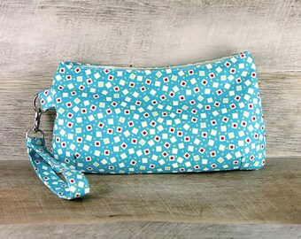 Small Wristlet, Clutch, Scattered Confetti Squares on Turquoise, Modern Art Deco, Flapper Handbag, Purse, Back to School, Gifts for Her