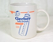 Vintage Gerber Baby Formula Advertising Mug Coffee Cup White Blue Bottle Baby's First Year