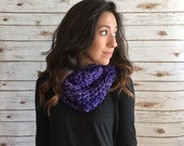 Hand Dyed Pure Merino Purple Infinity Scarf, Purple Textured Neck Cozy, Neck Warmer, Crochet Purple Cowl