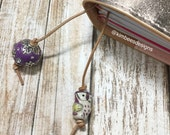 Traveler's Notebook Charm, Traveler's Notebook Bookmark, Leather Bookmark, Purple Beads and Purple Owl
