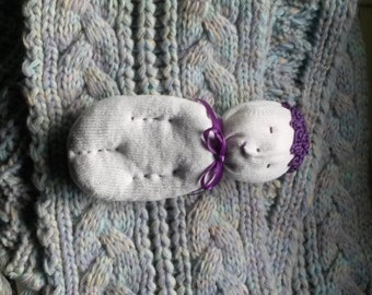 White Lavender Sock Doll Stuffed With Real Lavender