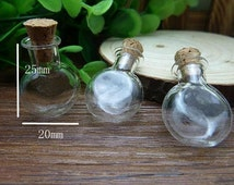 10 pcs 25x20mm Transparent Glass  Wishing Bottles Round Shape
