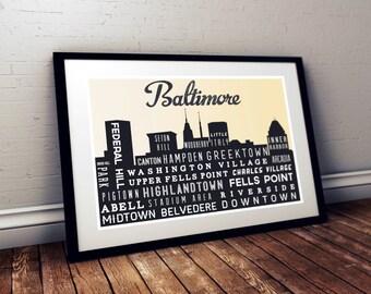 BALTIMORE, Typographic, Skyline Print, Typography Poster, Retro Wall Art,  Maryland, Home Decor, Wall Art, Holiday Gift, Living Room Decor