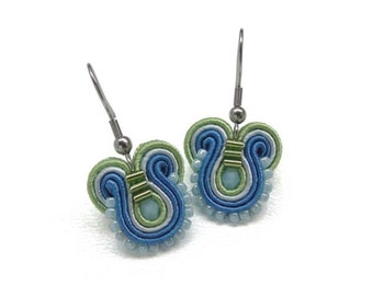 Blue Earrings Blue Drop Earrings Blue and Green Earrings Blue Dangle Earrings Multicolor Earrings Green Drop Earring