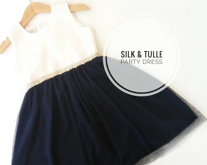 Party Dress, Little girl Silk Party Dress, Elegant Tutu dress for girls, Toddler Navy Tutu dresses