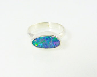 Opal Ring, Iridescent Multicolor Opal doublet Ring, Australian Opal setting in Sterling Silver, Sterling Silver ring