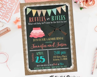 gender reveal invitation ruffles or rifles lace cowboy burlap bunting chalkboard gender neutral baby shower 1462 shabby chic invitations