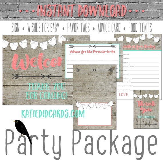 Diaper shower gender neutral 1417 5 item package AS IS Instant Download sign wishes for baby favor tag tent advice card burlap chalkboard