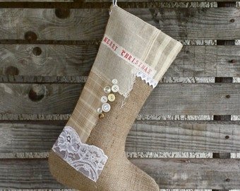 Burlap stocking, vintage inspired Christmas stocking, patchwork stocking, lace stocking, vintage lace, buttons, rustic stocking