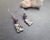 Viking Rune Earrings, Victory Rune, Silver tone Metal and Purple Beads, Norse Jewelry