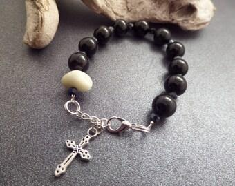 Black Onyx Rosary Bracelet with Scottish Iona Marble, Beach Pebble, Healing Stone, Protection Jewelry, Catholic Chaplet