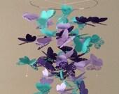 Flourish Butterfly Mobile in Purple and Teal, Baby Nursery, Kids Room,girl room mobile, nursery mobile, baby girl mobile, baby mobile