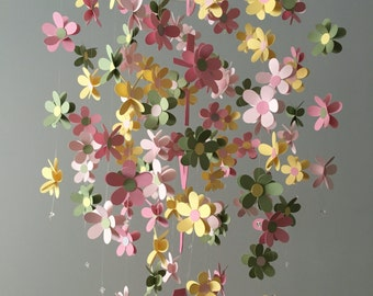 Personalized Flower mobile - in yellow, green, and pink, nursery mobile, baby girl mobile, photo prop, baby mobile