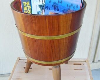 Vintage Round Yarn Box - Mag Rack - Planter