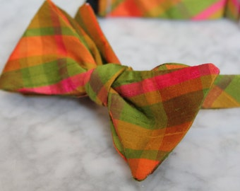 Bow tie in yellow, green and pink Silk Plaid for men or boys- Clip on, pre-tied with strap or freestyle - ring bearer outfit or wedding