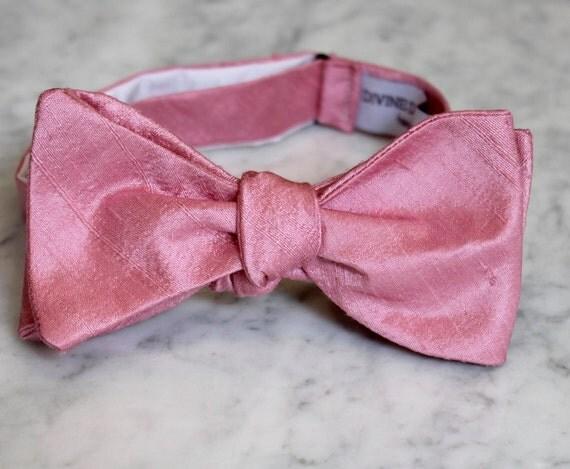Mens Bow Tie in Dark Rose Silk - self tying, pre-tied adjustable or clip on
