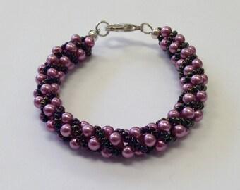 Spiral Beaded Bracelet -designed with Fuchsia Czech Glass Pearls - Miyuki Purple Iris Seed Beads - Spiral Twist Bracelet