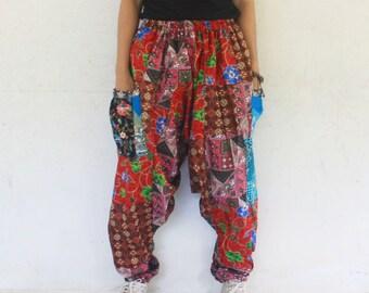 Unisex harem  pants  Thai batik on  Thai traditional  patchwork, harem pants , size S-XL,unisex pants,boho,hippie,spa,yoga