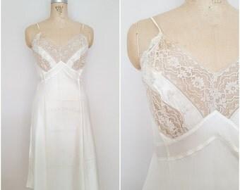 Vintage 1940s Full Slip / Ivory Lace / NOS / Wedding Slip / Wedding Night Lingerie / Small Medium