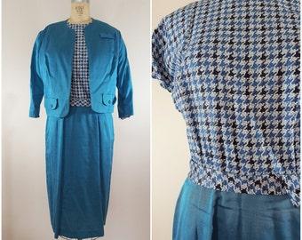 Vintage 1960s Suit / Teal Houndstooth / Dress and Jacket Set / Medium