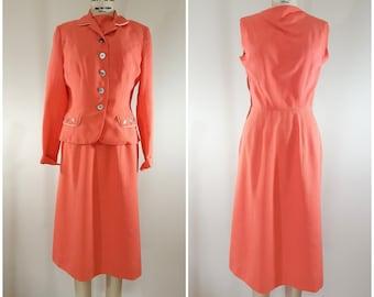 Vintage 1940s Peach Suit / Bobbie Brooks / 2 Piece Suit / Jacket and Dress / Small