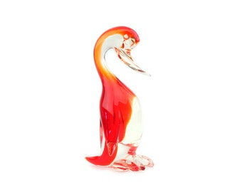 Murano Genuine Venetian Glass 1950's-1960s Red Goose Figurine.. Made in Italy..