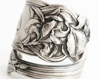 Iris Ring, Floral Ring, Iris Flower, Sterling Silver Spoon Ring, Art Nouveau Jewelry, Vintage Spoon, Engraved B, Adjustable Ring Size (6275)
