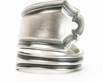Sterling Silver Spoon Ring, Elegant Minimalist Ring, Alvin Sterling, Handcrafted Ring, 5th Anniversary Gift, Adjustable Ring Size (5970)
