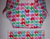 Baby Doll Diaper/wipe - cute mini elephants in colors of blue, green, pink and hot pink   - adjustable for many dolls such as bitty baby