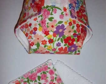 Baby Doll Diaper/wipe - bright multi color meadow flowers -  adjustable for many dolls, bitty baby