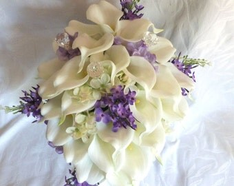 Reserved  Calla lily wedding bouquet set