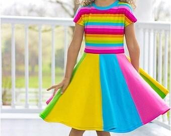 Little Miss Sunshine Dress & Tee: Dolman Tee Pattern, Twirly Dress Pattern, Circle Skirt