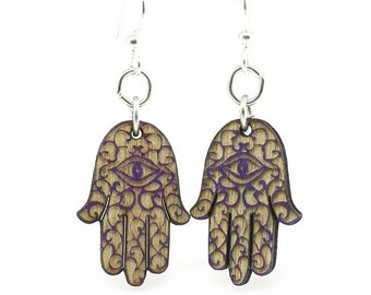 Hamsa Hand - Earrings laser Cut from Sustainable Wood Source