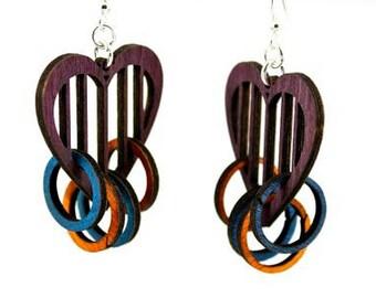 Heart with Rings - Laser Cut Wood Earrings
