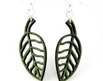 Simple Leaf Design - Sustainable Sourced Wood Earrings - Laser Cut
