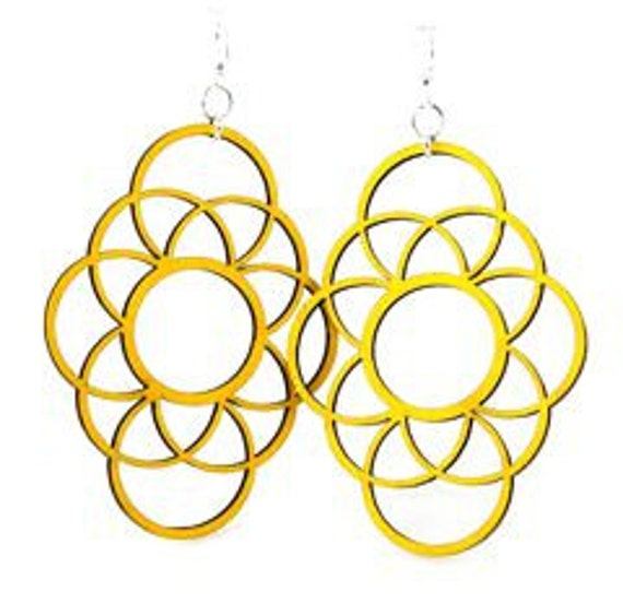 Circles Overlapped - Laser Cut Wood Earrings