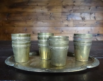 Vintage French Brass Calvados Goblets on Tray Shot Glasses Beakers Cups Drinking Barware circa 1920-30's / English Shop