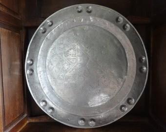 Vintage Moroccan Tunisian Turkish Large Oriental Metal Circular Tray Plate Dish Charger Serving Wall Hanging circa 1950-60's / English Shop