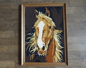 Vintage French Tapestry Cross Stitch Horse Head Reproduction Portrait Wall Hanging circa 1950-60's / English Shop
