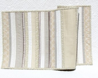 Natural linen patchwork table runner, quilted table runner in winter whites